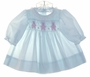 "<img src=""https://p11.secure.hostingprod.com/@grammies-attic.com/ssl/images/blue-sold-1.gif""> Polly Flinders Tiny Pale Blue Long Sleeved Smocked Dress with Bear Embroidery"