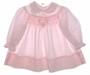 "<img src=""https://p11.secure.hostingprod.com/@grammies-attic.com/ssl/images/blue-sold-1.gif""> Polly Flinders Pink Smocked Baby Dress with Lace Edged Collar"
