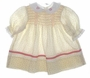 "<img src=""https://p11.secure.hostingprod.com/@grammies-attic.com/ssl/images/blue-sold-1.gif""> Vintage 1960s Polly Flinders Cream Flowered Smocked Baby Dress with Coral Ribbon Trim"