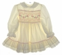 "<img src=""https://p11.secure.hostingprod.com/@grammies-attic.com/ssl/images/blue-sold-1.gif""> Polly Flinders Cream Smocked Toddler Dress with Pink Embroidery"