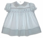 "<img src=""https://p11.secure.hostingprod.com/@grammies-attic.com/ssl/images/blue-sold-1.gif""> Polly Flinders Pale Blue Smocked Baby Dress with Pink Embroidery"