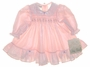 "<img src=""https://p11.secure.hostingprod.com/@grammies-attic.com/ssl/images/blue-sold-1.gif""> New Polly Flinders Pink Polished Cotton Smocked Baby Dress with Lace Collar"
