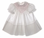 "<img src=""https://p11.secure.hostingprod.com/@grammies-attic.com/ssl/images/blue-sold-1.gif""> Polly Flinders White Smocked Baby Dress with Embroidered Pink Rosebuds"