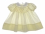 "<img src=""https://p11.secure.hostingprod.com/@grammies-attic.com/ssl/images/blue-sold-1.gif""> Vintage 1950s Polly Flinders Pale Yellow Smocked Baby Dress with White Lace Trimmed Collar"