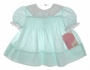 "<img src=""https://p11.secure.hostingprod.com/@grammies-attic.com/ssl/images/blue-sold-1.gif""> NEW Polly Flinders Pale Green Dotted Smocked Baby Dress with Lacy Collar"