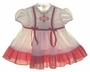 "<img src=""https://p11.secure.hostingprod.com/@grammies-attic.com/ssl/images/blue-sold-1.gif""> Vintage 1950s Polly Flinders Smocked White Baby Dress with Red Gingham Trim"