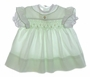 "<img src=""https://p11.secure.hostingprod.com/@grammies-attic.com/ssl/images/blue-sold-1.gif""> Vintage 1960s Polly Flinders Pale Green Smocked Baby Dress with Pinafore Style Sleeves"