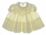 "<img src=""https://p11.secure.hostingprod.com/@grammies-attic.com/ssl/images/blue-sold-1.gif""> Vintage 1960s Polly Flinders Pale Yellow Smocked Baby Dress with Lace Trimmed Collar"