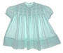 "<img src=""https://p11.secure.hostingprod.com/@grammies-attic.com/ssl/images/blue-sold-1.gif""> Vintage 1960s Polly Flinders Aqua Baby Dress with Lace and Pink Rosebuds"