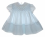 "<img src=""https://p11.secure.hostingprod.com/@grammies-attic.com/ssl/images/blue-sold-1.gif""> Vintage 1960s Polly Flinders Pale Blue Smocked Baby Dress with Lace Trimmed Collar and Sleeves"