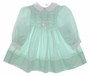 "<img src=""https://p11.secure.hostingprod.com/@grammies-attic.com/ssl/images/blue-sold-1.gif""> Polly Flinders Pale Green Smocked Baby Dress with Pink Embroidery"