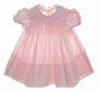 "<img src=""https://p11.secure.hostingprod.com/@grammies-attic.com/ssl/images/blue-sold-1.gif""> Polly Flinders Pink Smocked Baby Dress with Ruffled Sleeves and Embroidered Rosebuds"