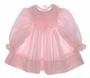"<img src=""https://p11.secure.hostingprod.com/@grammies-attic.com/ssl/images/blue-sold-1.gif""> Polly Flinders Pale Pink Long Sleeved Smocked Baby Dress with White Satin Bow"
