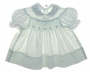 "<img src=""https://p11.secure.hostingprod.com/@grammies-attic.com/ssl/images/blue-sold-1.gif""> Polly Flinders White Smocked Baby Dress with Blue Rosebud Print"