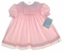 "<img src=""https://p11.secure.hostingprod.com/@grammies-attic.com/ssl/images/blue-sold-1.gif""> New Polly Flinders Pink Smocked Baby Dress with Eyelet Trimmed Collar"