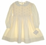 "<img src=""https://p11.secure.hostingprod.com/@grammies-attic.com/ssl/images/blue-sold-1.gif""> NEW Polly Flinders Ivory Corduroy Smocked Dress with Embroidered Pink Rosebuds"