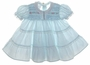"<img src=""https://p11.secure.hostingprod.com/@grammies-attic.com/ssl/images/blue-sold-1.gif""> Polly Flinders Pale Blue Smocked Baby Dress with Lace Trimmed Ruffled Skirt"