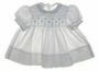 "<img src=""https://p11.secure.hostingprod.com/@grammies-attic.com/ssl/images/blue-sold-1.gif""> Polly Flinders White Smocked Baby Dress with Lilac Flowers and Embroidery"
