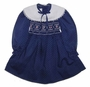 "<img src=""https://p11.secure.hostingprod.com/@grammies-attic.com/ssl/images/blue-sold-1.gif""> Polly Flinders Navy Dotted Smocked Toddler Dress with White Collar"