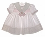 "<img src=""https://p11.secure.hostingprod.com/@grammies-attic.com/ssl/images/blue-sold-1.gif""> Polly Flinders White Cotton Smocked Sailor Dress with Pink Stars and Matching Diaper Cover"