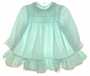 "<img src=""https://p11.secure.hostingprod.com/@grammies-attic.com/ssl/images/blue-sold-1.gif""> Polly Flinders Pale Green Ruffled Baby Dress with Pink Embroidered Flowers"
