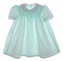 "<img src=""https://p11.secure.hostingprod.com/@grammies-attic.com/ssl/images/blue-sold-1.gif""> Polly Flinders Green Dotted Smocked Baby Dress with Lacy Collar"