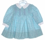 "<img src=""https://p11.secure.hostingprod.com/@grammies-attic.com/ssl/images/blue-sold-1.gif""> Polly Flinders Aqua Print Smocked Dress with Lilac Embroidery"