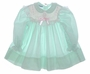 "<img src=""https://p11.secure.hostingprod.com/@grammies-attic.com/ssl/images/blue-sold-1.gif""> Polly Flinders Green Flowered Smocked Baby Dress with Pink Embroidery"