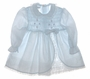 "<img src=""https://p11.secure.hostingprod.com/@grammies-attic.com/ssl/images/blue-sold-1.gif""> Polly Flinders Pale Blue Dotted Smocked Baby Dress with Ruffled Petticoat"