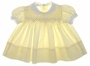 "<img src=""https://p11.secure.hostingprod.com/@grammies-attic.com/ssl/images/blue-sold-1.gif""> Vintage 1960s Polly Flinders Pale Yellow Smocked Baby Dress with White Lace Edged Collar"