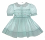 "<img src=""https://p11.secure.hostingprod.com/@grammies-attic.com/ssl/images/blue-sold-1.gif""> Polly Flinders Pale Green Dotted Smocked Toddler Dress with Pink Ribbon Roses"