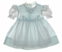 "<img src=""https://p11.secure.hostingprod.com/@grammies-attic.com/ssl/images/blue-sold-1.gif""> Vintage 1950s Polly Flinders Pale Blue Smocked Baby Dress with Attached White Organdy Apron"