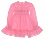 "<img src=""https://p11.secure.hostingprod.com/@grammies-attic.com/ssl/images/blue-sold-1.gif""> Polly Flinders Bright Pink Flowered Smocked Dress with Ruffled Collar and Hem"