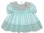"<img src=""https://p11.secure.hostingprod.com/@grammies-attic.com/ssl/images/blue-sold-1.gif""> Polly Flinders Green Smocked Baby Dress with White Striped Collar"