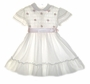 "<img src=""https://p11.secure.hostingprod.com/@grammies-attic.com/ssl/images/blue-sold-1.gif""> Polly Flinders White Dotted Smocked Dress with Pink Satin Ribbon and Pink Embroidery"
