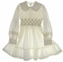 "<img src=""https://p11.secure.hostingprod.com/@grammies-attic.com/ssl/images/blue-sold-1.gif""> Vintage 1960s Polly Flinders Cream Smocked Dress with Ruffled Hem"