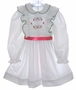 "<img src=""https://p11.secure.hostingprod.com/@grammies-attic.com/ssl/images/blue-sold-1.gif""> Polly Flinders White Dotted Smocked Dress with Red Satin Ribbon"
