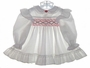 "<img src=""https://p11.secure.hostingprod.com/@grammies-attic.com/ssl/images/blue-sold-1.gif""> Polly Flinders White Dotted Smocked Baby Dress with Red Embroidered Flowers"