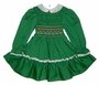 "<img src=""https://p11.secure.hostingprod.com/@grammies-attic.com/ssl/images/blue-sold-1.gif""> Polly Flinders Green Smocked Toddler Dress with Embroidered Red Flowers"