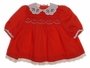"<img src=""https://p11.secure.hostingprod.com/@grammies-attic.com/ssl/images/blue-sold-1.gif""> Polly Flinders Red Smocked Baby Dress with Holly Embroidered Collar"