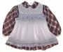 "<img src=""https://p11.secure.hostingprod.com/@grammies-attic.com/ssl/images/blue-sold-1.gif""> Polly Flinders White Baby Dress with Red and Green Plaid Trim and Smocked Pinafore"