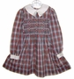 "<img src=""https://p11.secure.hostingprod.com/@grammies-attic.com/ssl/images/blue-sold-1.gif""> Polly Flinders Red and Green Plaid Smocked Little Girls Dress with White Collar"