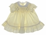 "<img src=""https://p11.secure.hostingprod.com/@grammies-attic.com/ssl/images/blue-sold-1.gif""> Vintage 1960s Pale Yellow Smocked Baby Dress with White Collar"