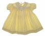 "<img src=""https://p11.secure.hostingprod.com/@grammies-attic.com/ssl/images/blue-sold-1.gif""> Vintage 1940s Polly Flinders Yellow Smocked Baby Dress with Embroidered Collar"