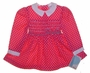 "<img src=""https://p11.secure.hostingprod.com/@grammies-attic.com/ssl/images/blue-sold-1.gif""> NEW Polly Flinders Bright Pink Dotted Smocked Dress with Embroidered Flowers and White Collar"