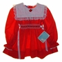 "<img src=""https://p11.secure.hostingprod.com/@grammies-attic.com/ssl/images/blue-sold-1.gif""> NEW Polly Flinders Red Smocked Dress with White Lace Trimmed Portrait Collar"