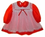 "<img src=""https://p11.secure.hostingprod.com/@grammies-attic.com/ssl/images/blue-sold-1.gif""> Polly Flinders Red Dotted Dress with Rosebud Trimmed White Pinafore"