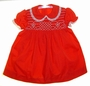 "<img src=""https://p11.secure.hostingprod.com/@grammies-attic.com/ssl/images/blue-sold-1.gif""> Vintage 1960s Polly Flinders Red Smocked Dress with Embroidered Flowers and White Lace Trim"