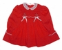 Polly Flinders Red Smocked Baby Dress with White Lace Collar