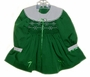 "<img src=""https://p11.secure.hostingprod.com/@grammies-attic.com/ssl/images/blue-sold-1.gif""> Polly Flinders Green Smocked Toddler Dress with White Snowflake Embroidery"